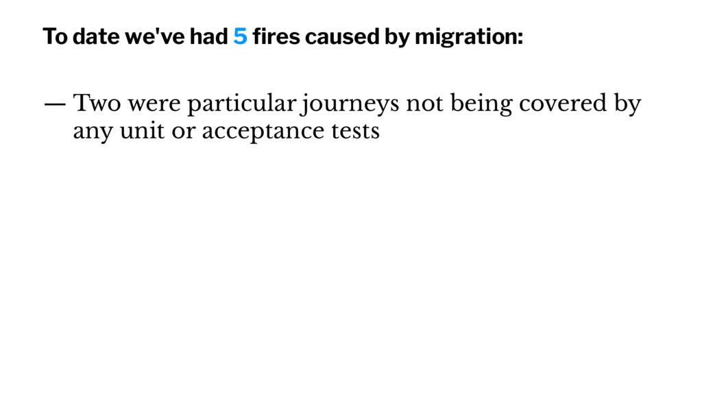 To date we've had 5 fires caused by migration: —...
