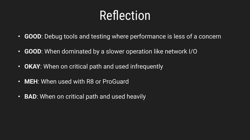 Reflection • GOOD: Debug tools and testing where...