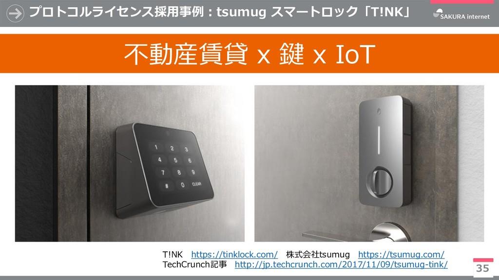 プロトコルライセンス採用事例:tsumug スマートロック「T!NK」 35 T!NK htt...