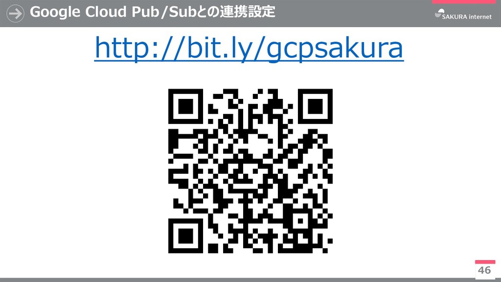 Google Cloud Pub/Subとの連携設定 46 http://bit.ly/gcp...