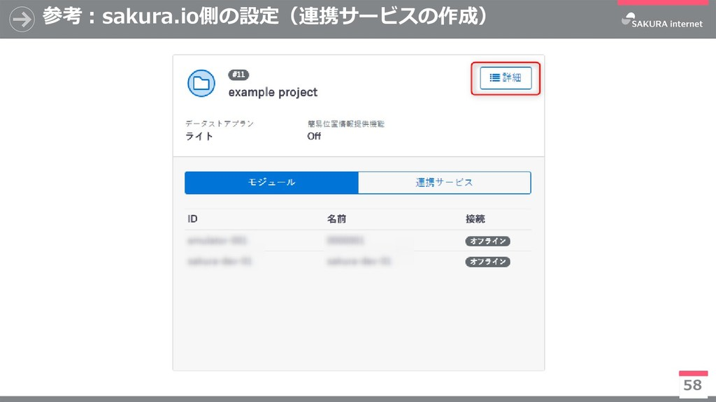 参考:sakura.io側の設定(連携サービスの作成) 58 ※今後有償化予定