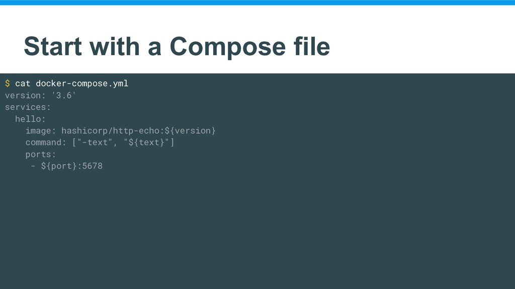 Start with a Compose file $ cat docker-compose....