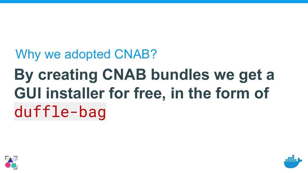 By creating CNAB bundles we get a GUI installer...