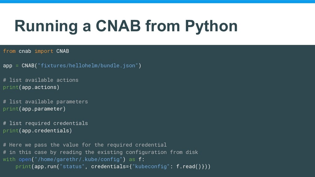 Running a CNAB from Python from cnab import CNA...
