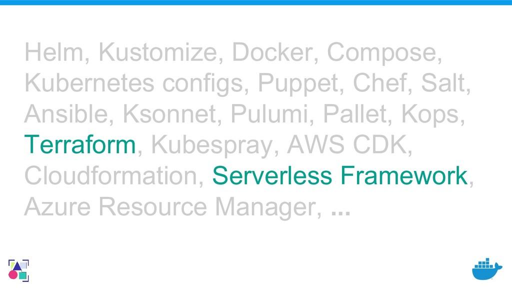 Helm, Kustomize, Docker, Compose, Kubernetes co...