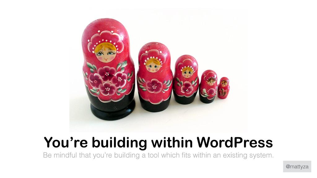 @mattyza You're building within WordPress Be mi...