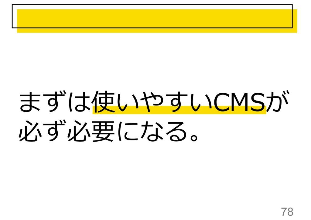 78 まずは使いやすいCMSが 必ず必要になる。