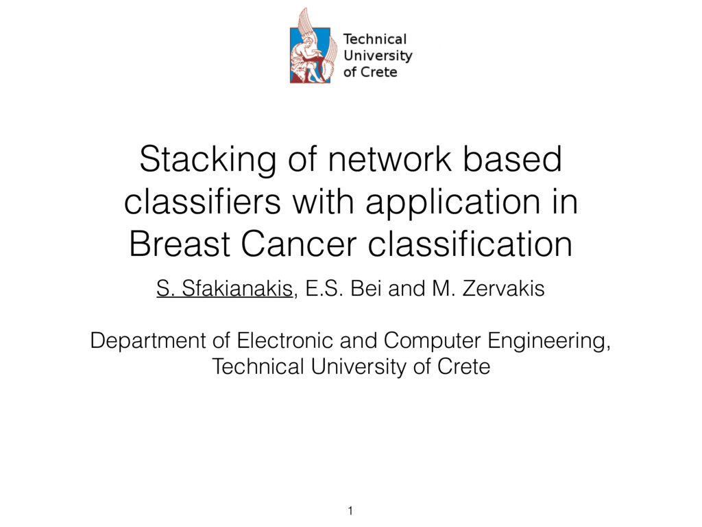 Stacking of network based classifiers with appli...