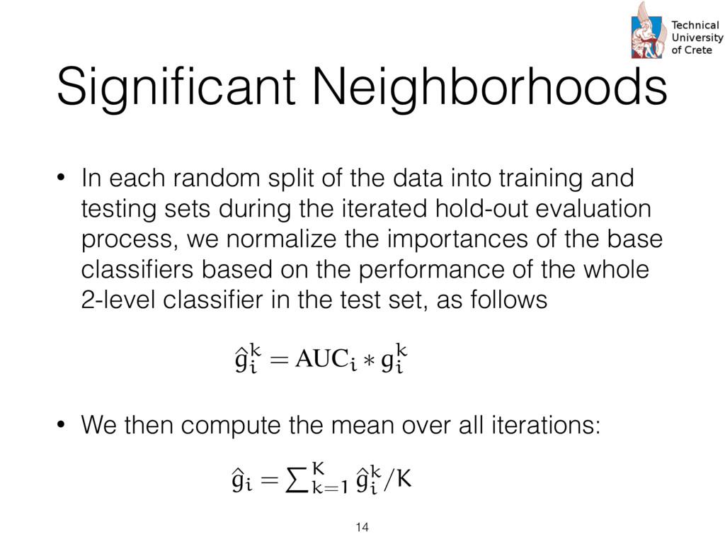 Significant Neighborhoods • In each random split...