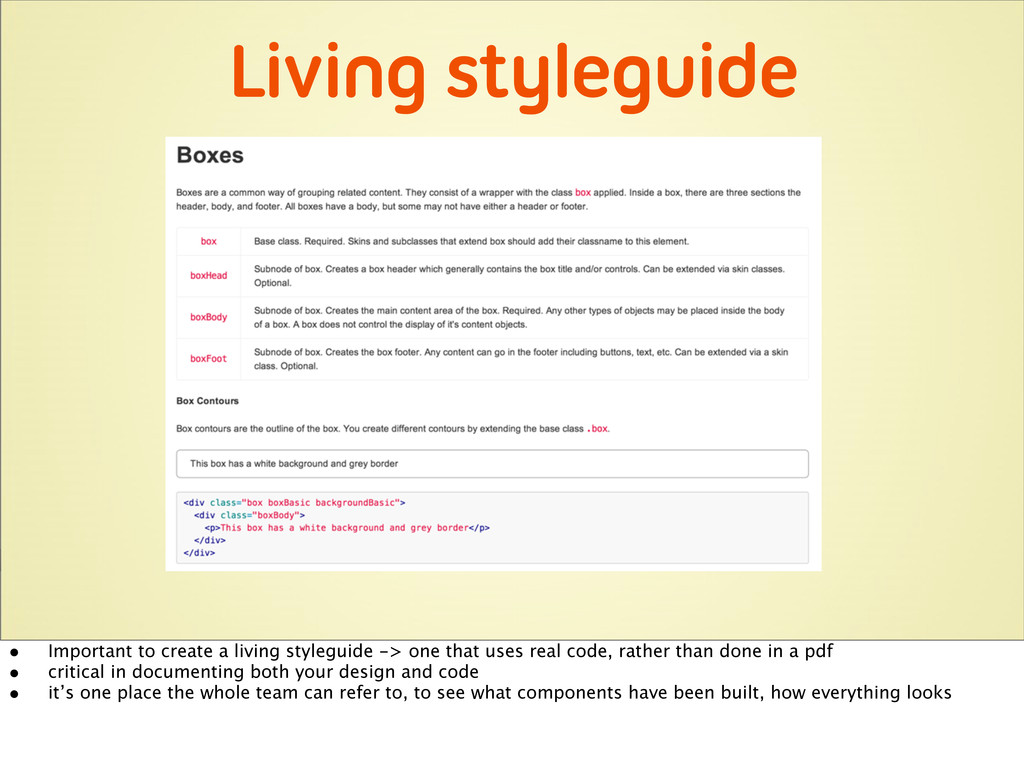 Living styleguide • Important to create a livin...