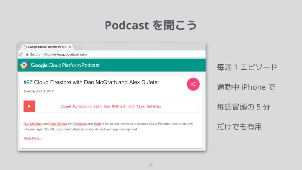 Podcast を聞こう 76 毎週 1 エピソード 通勤中 iPhone で 毎週冒頭の 5...