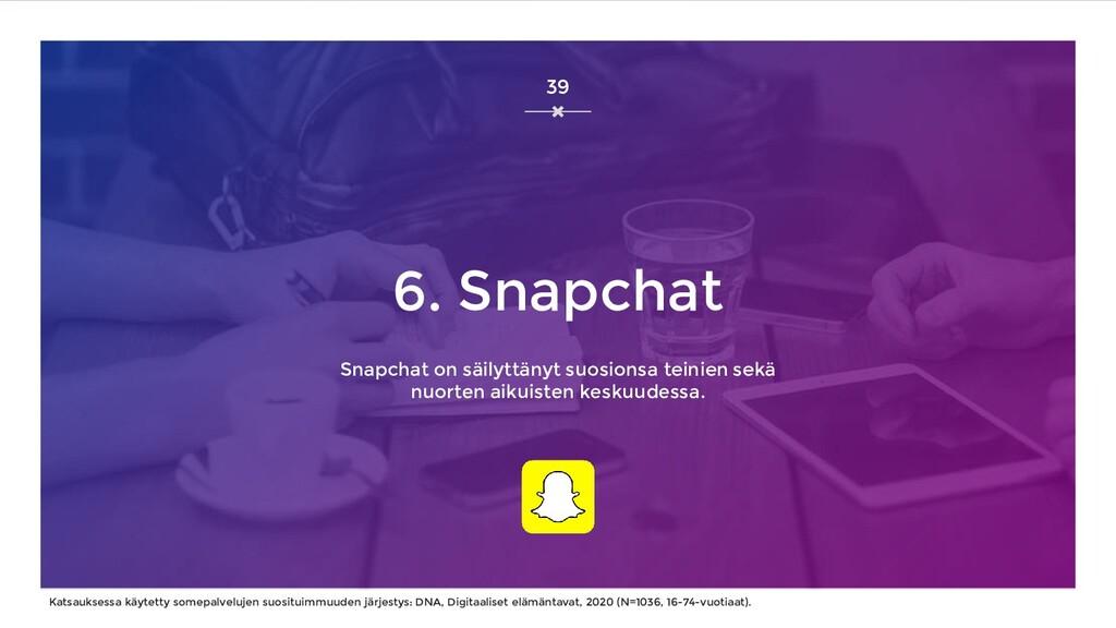 6. Snapchat Snapchat on säilyttänyt suosionsa t...