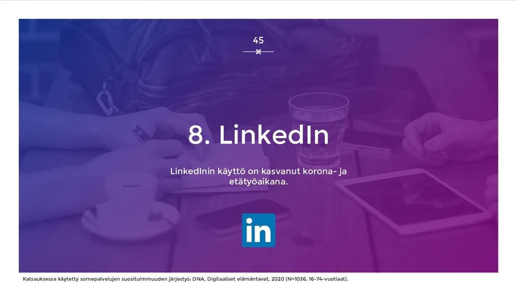 8. LinkedIn LinkedInin käyttö on kasvanut koron...
