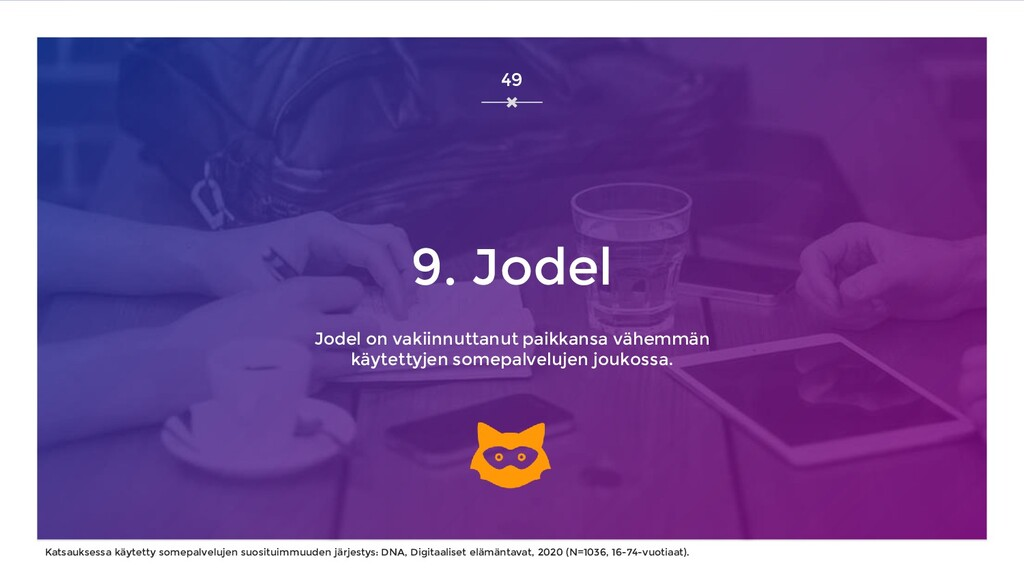 9. Jodel Jodel on vakiinnuttanut paikkansa vähe...