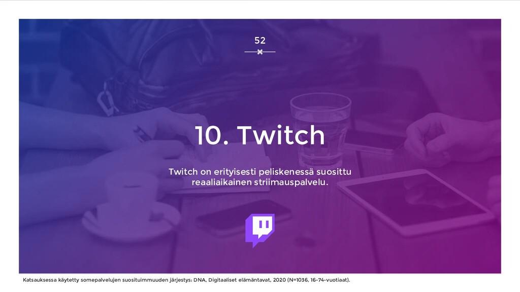 10. Twitch Twitch on erityisesti peliskenessä s...