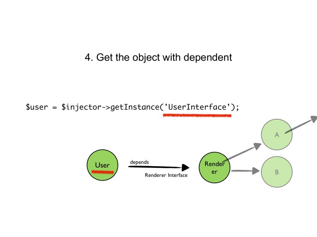 $user = $injector->getInstance('UserInterface')...