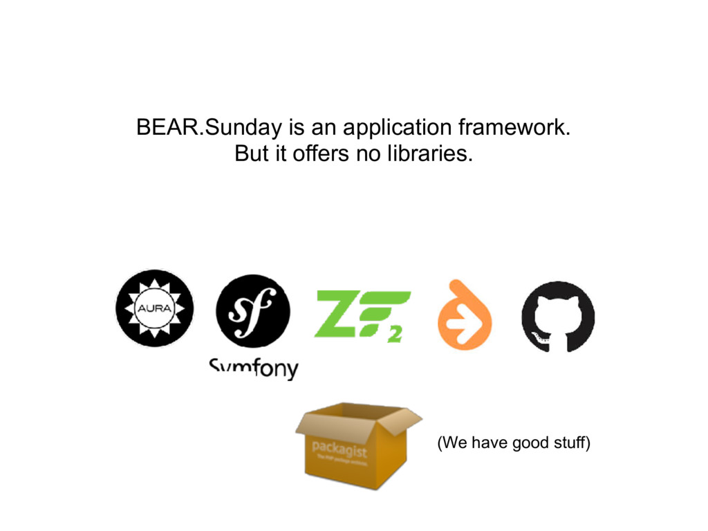 BEAR.Sunday is an application framework. But it...