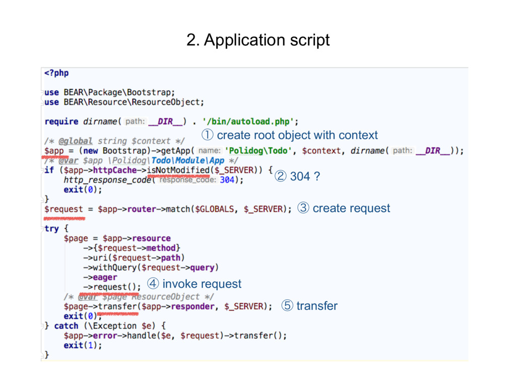 2. Application script ᶃ create root object with...