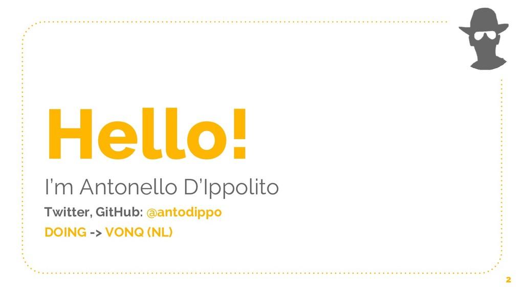 Hello! I'm Antonello D'Ippolito Twitter, GitHub...