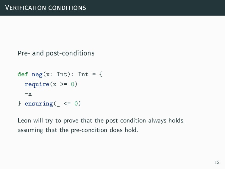 Verification conditions Pre- and post-condition...