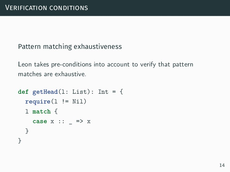 Verification conditions Pattern matching exhaus...