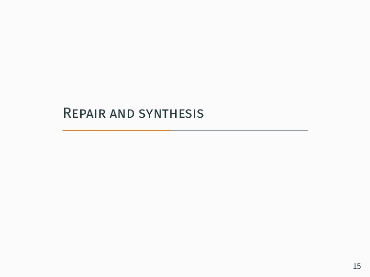 Repair and synthesis 15