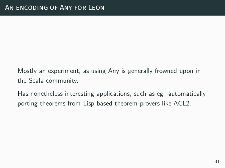 An encoding of Any for Leon Mostly an experimen...