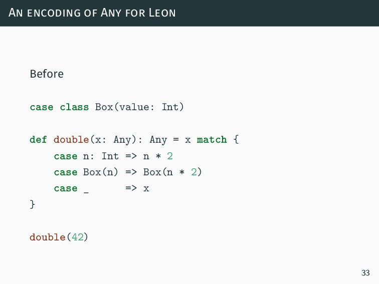 An encoding of Any for Leon Before case class B...