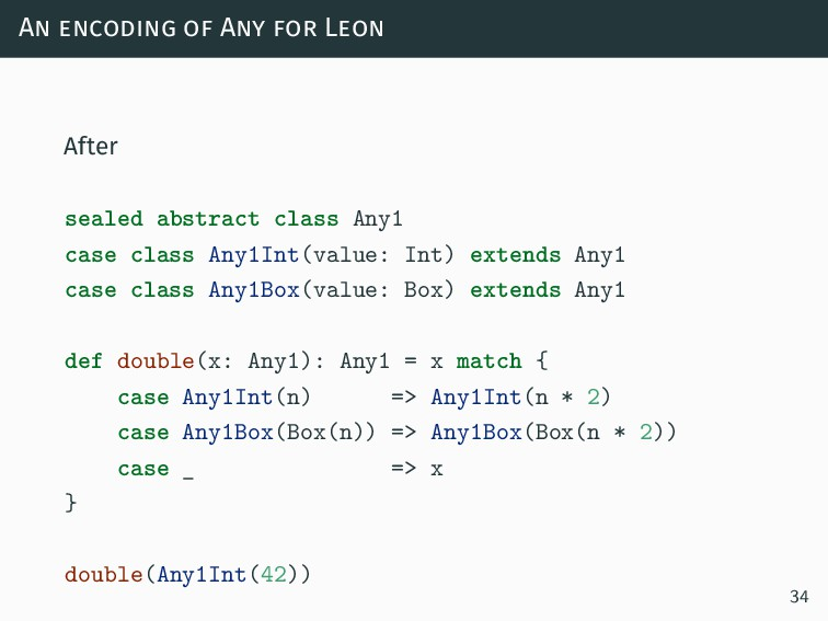 An encoding of Any for Leon After sealed abstra...