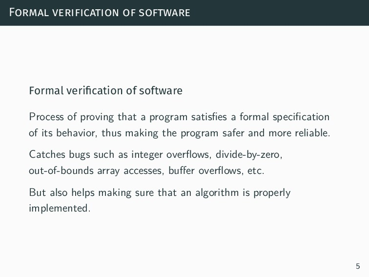 Formal verification of software Formal verificat...