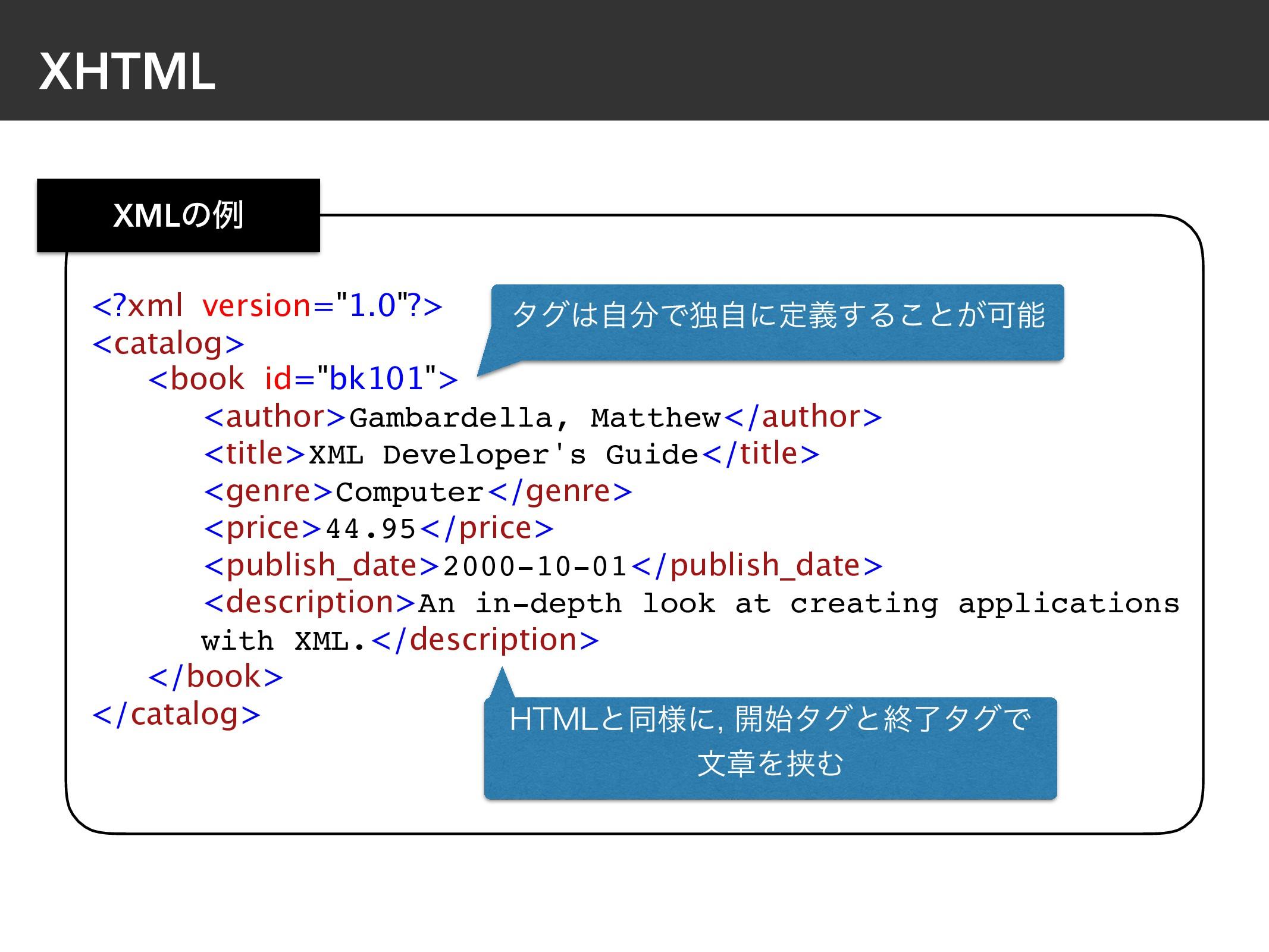 "XHTML <?xml version=""1.0""?> <catalog> <book id=..."
