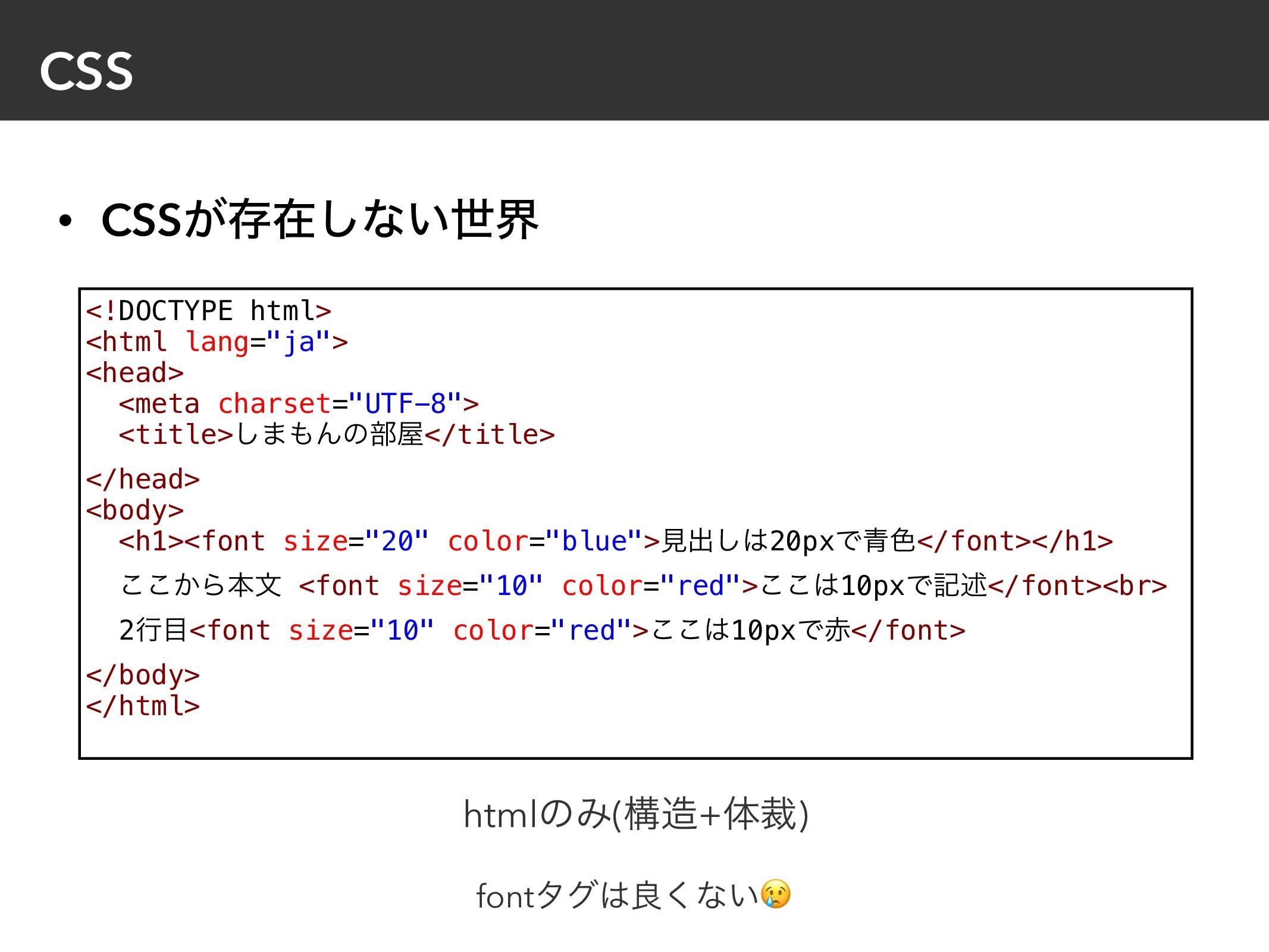 """CSS • CSS͕ଘࡏ͠ͳ͍ੈք <!DOCTYPE html> <html lang=""""j..."""