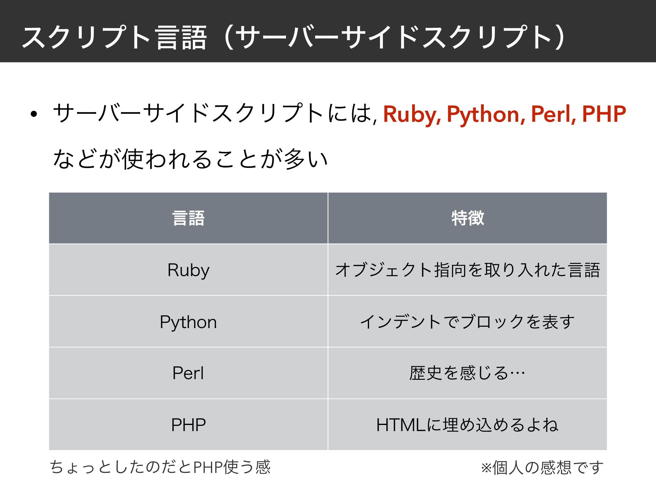 εΫϦϓτݴޠʢαʔόʔαΠυεΫϦϓτʣ • αʔόʔαΠυεΫϦϓτʹ, Ruby, P...