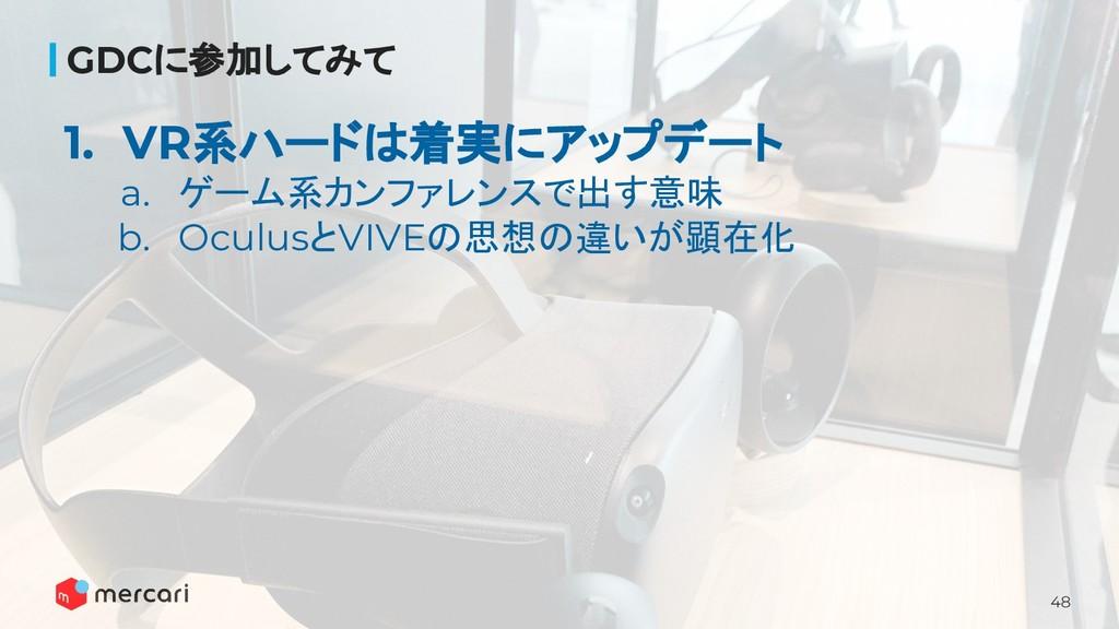48 GDCに参加してみて 1. VR系ハードは着実にアップデート a. ゲーム系カンファレン...