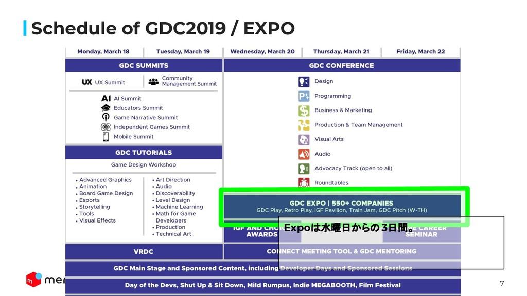 7 Schedule of GDC2019 / EXPO Expoは水曜日からの3日間。