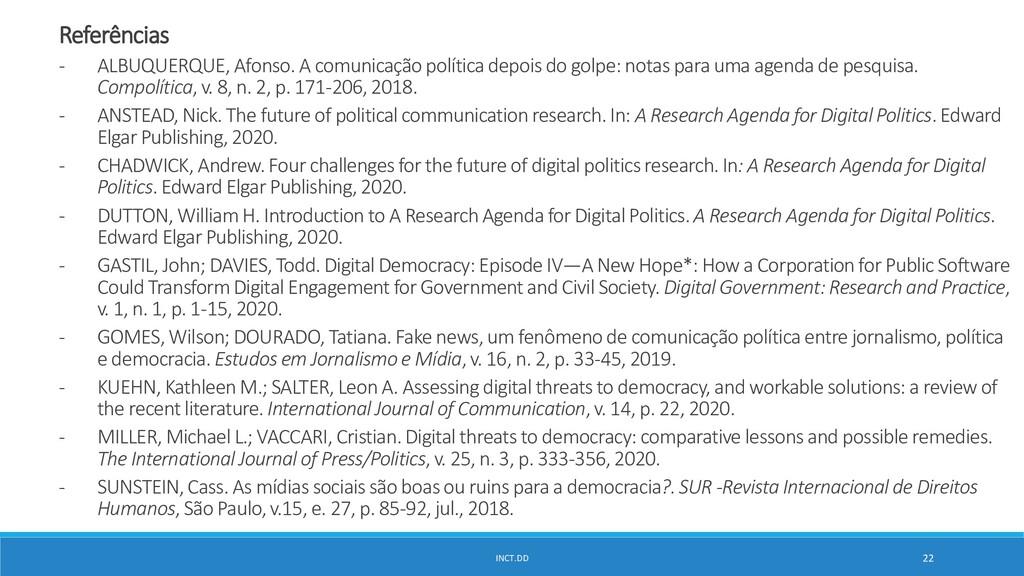 INCT.DD 22 Referências - ALBUQUERQUE, Afonso. A...