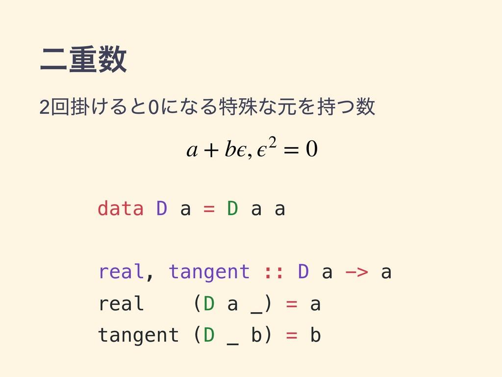 ೋॏ data D a = D a a real, tangent :: D a -> a ...