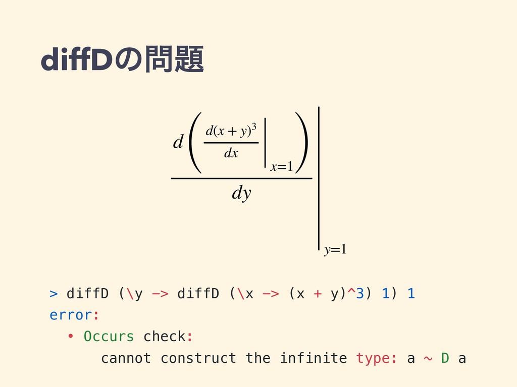 diffDͷ > diffD (\y -> diffD (\x -> (x + y)^3)...