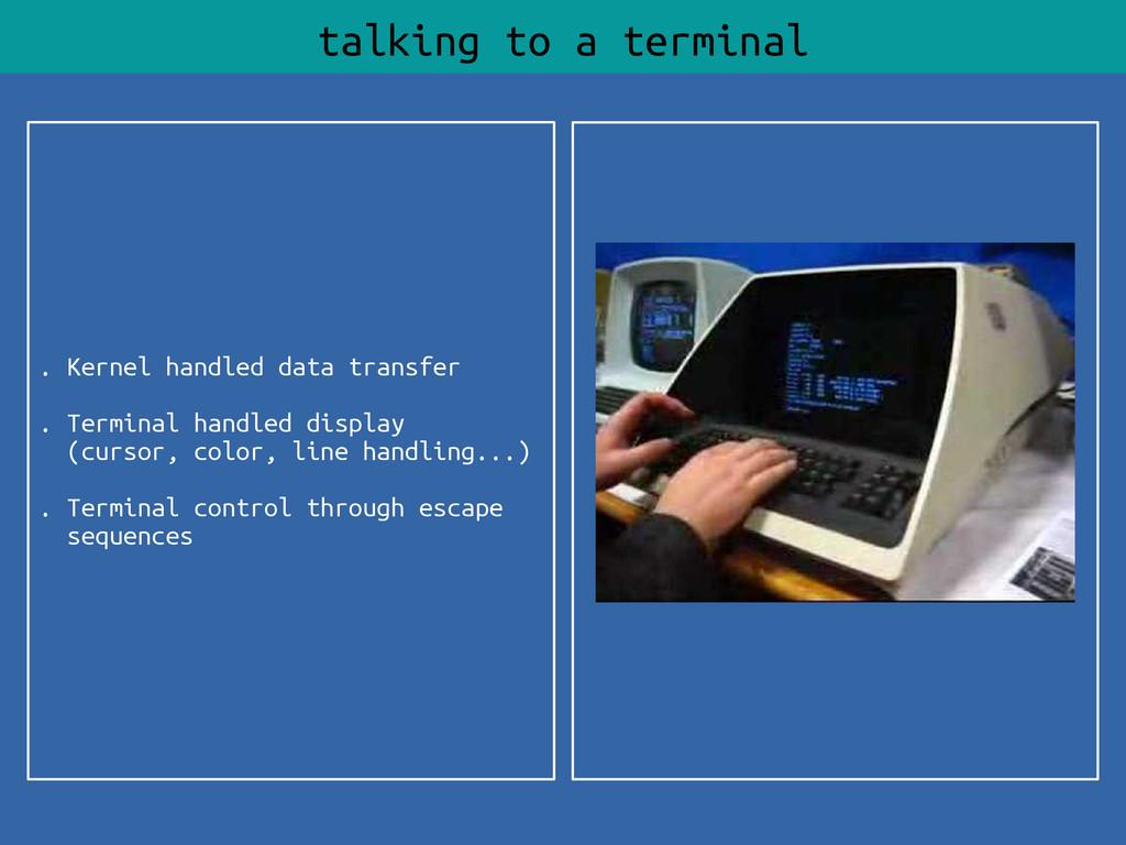 . Kernel handled data transfer . Terminal handl...