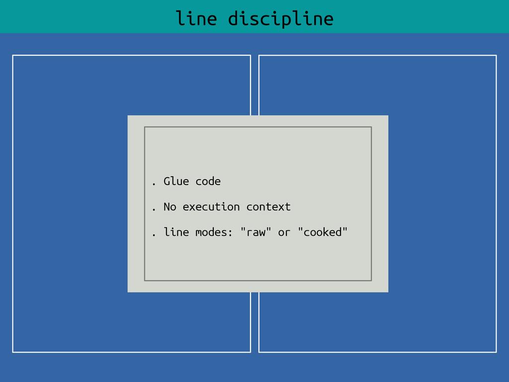 line discipline . Glue code . No execution cont...