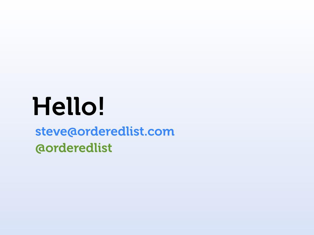 Hello! steve@orderedlist.com @orderedlist