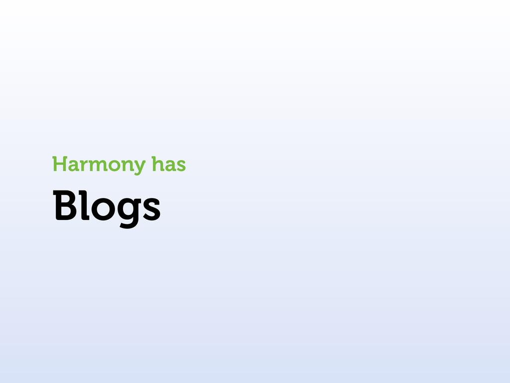 Blogs Harmony has