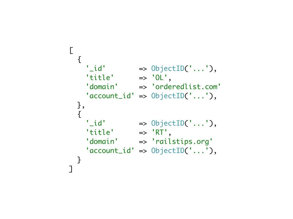 [ { '_id' => ObjectID('...'), 'title' => 'OL', ...
