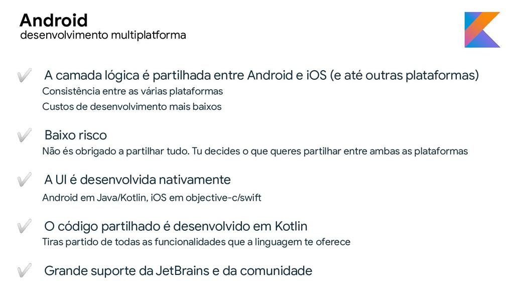 ✅ A camada lógica é partilhada entre Android e ...