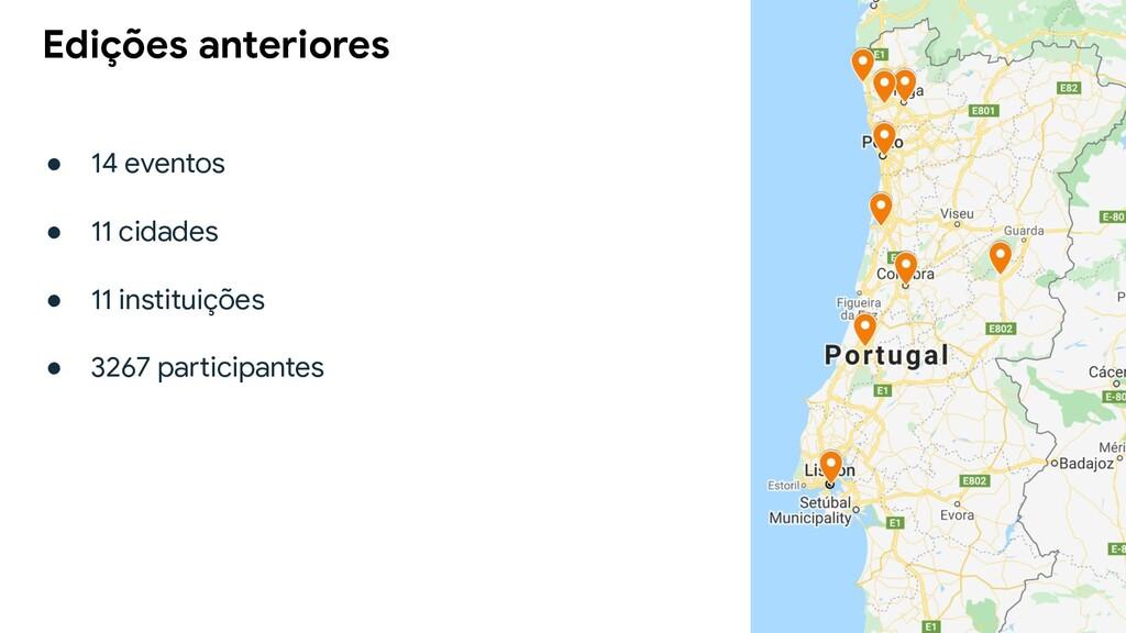 ● 14 eventos ● 11 cidades ● 11 instituições ● 3...