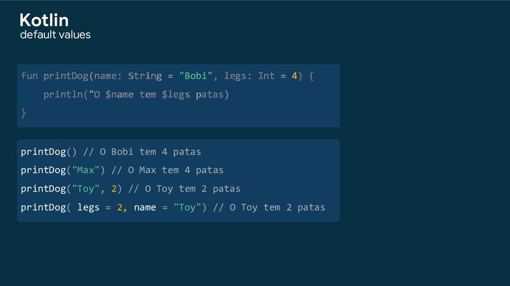 """fun printDog(name: String = """"Bobi"""", legs: Int =..."""