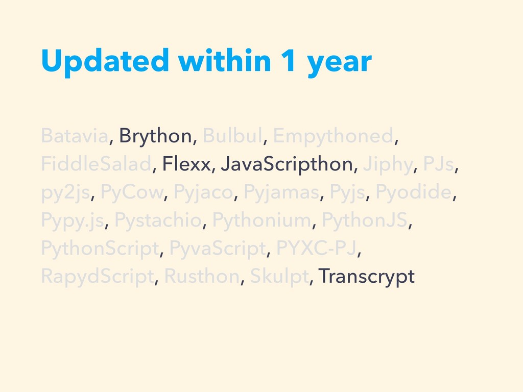 Updated within 1 year Batavia, Brython, Bulbul,...