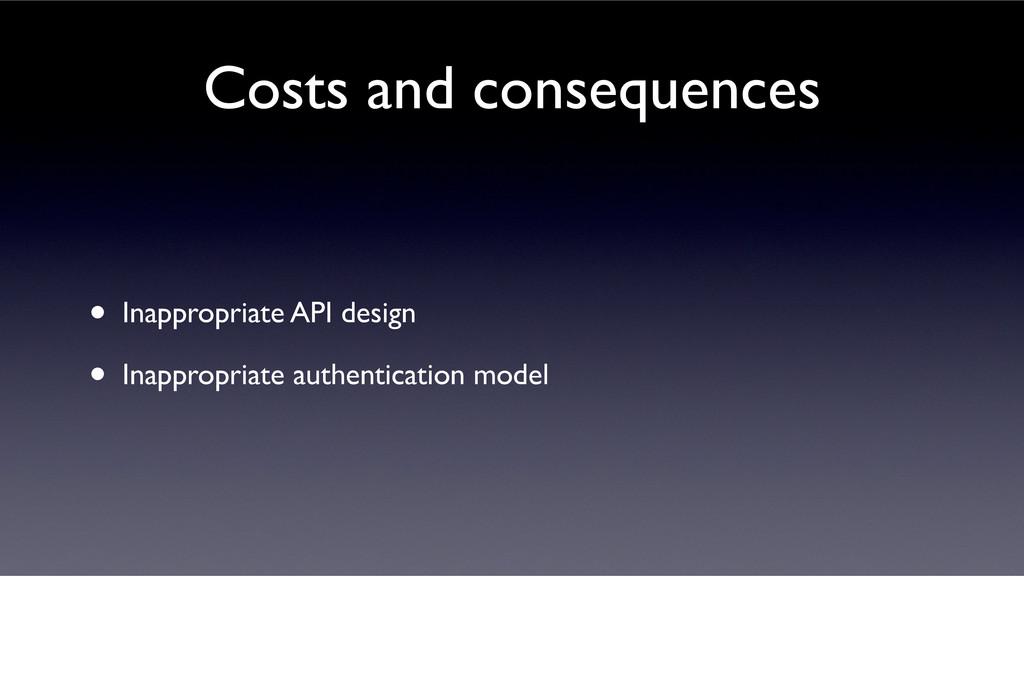 • Inappropriate API design • Inappropriate auth...