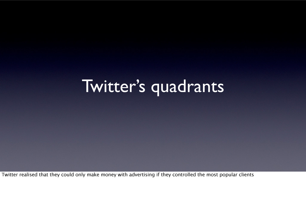 Twitter's quadrants Twitter realised that they ...