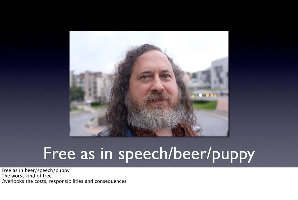 Free as in speech/beer/puppy Free as in beer/sp...